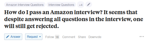 Interview Rejection Post on Quora